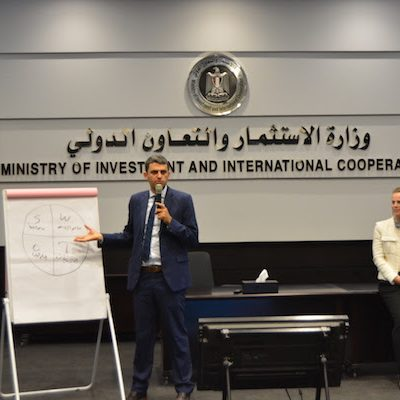Triangle's Director of Knowledge Nizar Ghanem (L) delivers a training session alongside Denise Sumpf, Officer-in-Charge / First Economic Affairs Officer, Economic Governance and Planning Section Economic Development and Integration Division (R). © Triangle