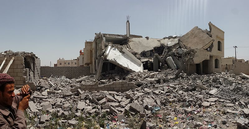 """Destroyed house in Sanaa,Yemen."" (Source: Ibrahem Qasim / Wikicommons)"